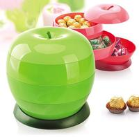 High Quality Apple Shape Plastic Organizer Roation Boxes Food Storage Vacuum Boxes Food Container Candy Boxes