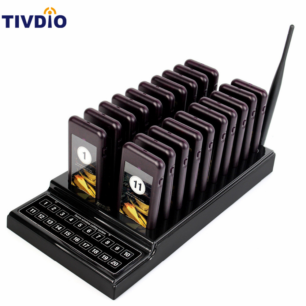 TIVDIO Wireless Pager Restaurant 20 Coaster System Waiter Paging Queuing Rechargeable Battery Pager Restaurants Equipments F9401 2 receivers 60 buzzers wireless restaurant buzzer caller table call calling button waiter pager system