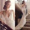 2016 New Sexy Lace  Mermaid Wedding Dresses Deep V Neck Sleeveles V Back Open Lace Beading Court Train Bridal Gown Custom Made