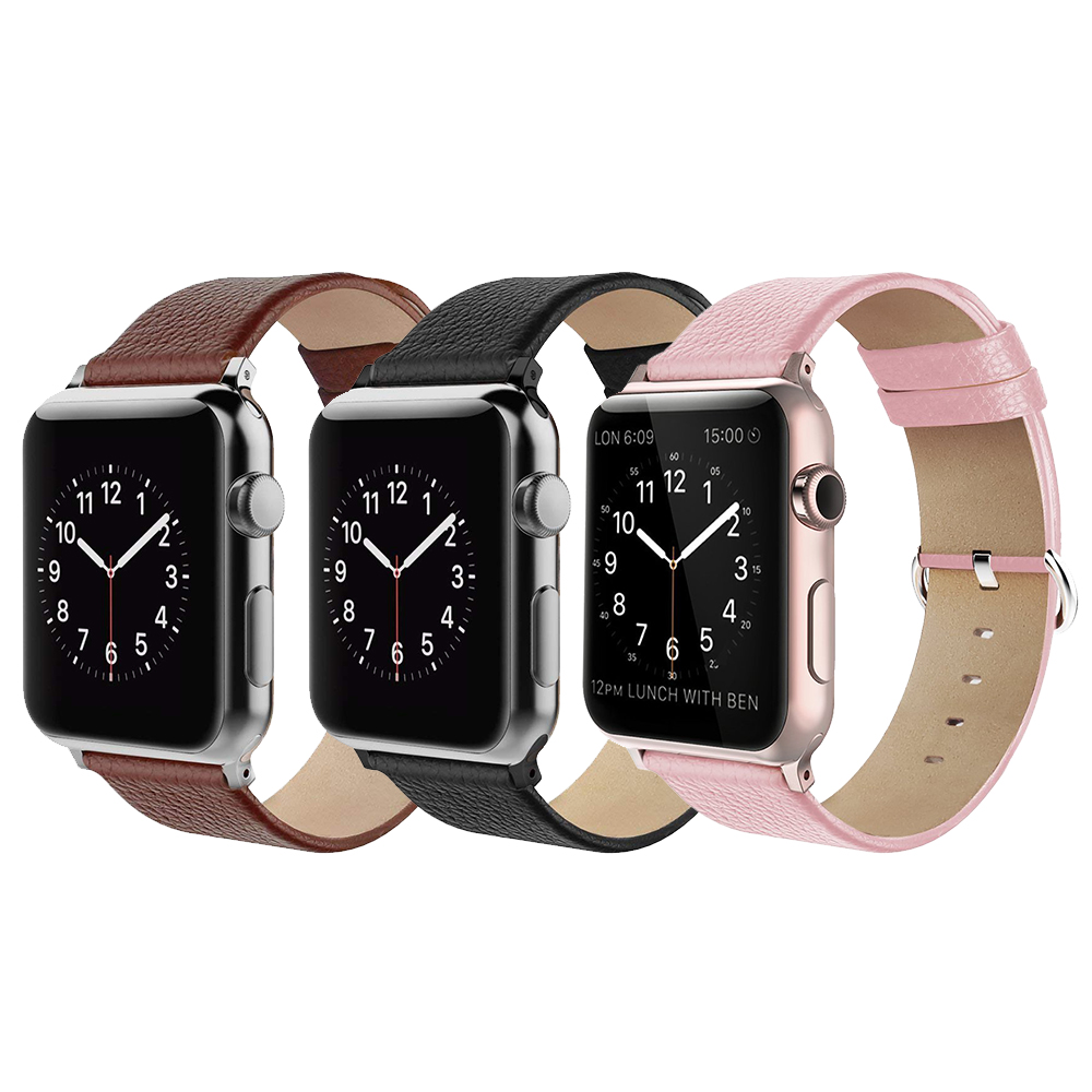 Premium Litchi Genuine Leather Replacement Band with Metal Clasp Buckle for Apple Watch Series1 /2/3/4 38/40mm 42/44mm Premium Litchi Genuine Leather Replacement Band with Metal Clasp Buckle for Apple Watch Series1 /2/3/4 38/40mm 42/44mm