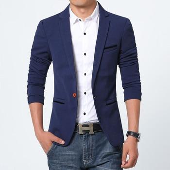 Spring Autumn Luxury Men Blazer 2019 Casual Business Cotton Slim Fit Suit jacket Male Plus Size M-5XL Blazer Masculino 1