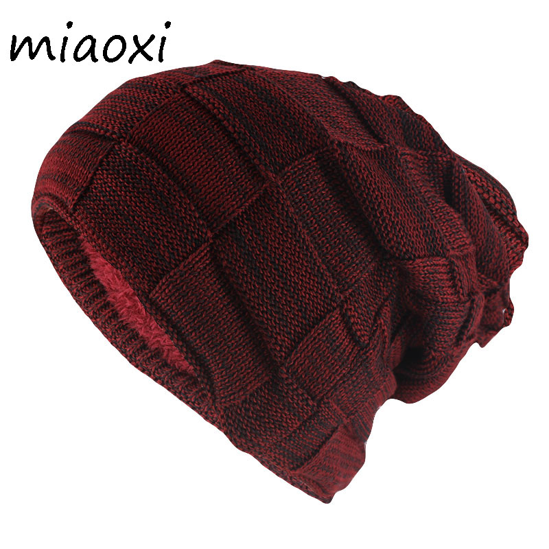 miaoxi Hip Hop Fashion Adult Winter Skullies & Beanies For Men Warm Casual Hat Knitted Unisex Solid Gorros Women Woolen Hats