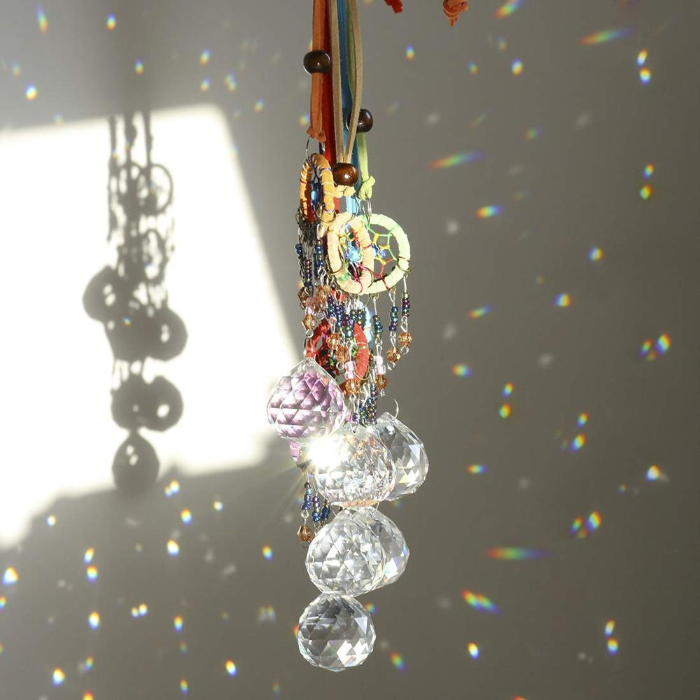 H&D Crystal Sun Catcher And Dream Catcher For Window,Fengshui Rainbow Pendant With Chandelier 30mm Ball Prisms Home Garden Decor