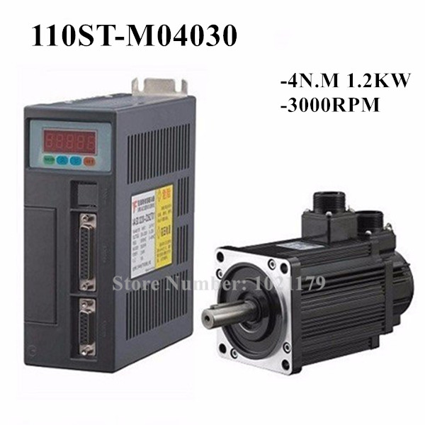 NEW 4N.M 1.2KW 3000RPM 110mm 110ST 5A AC Servo Motor 110ST-M04030 + AC220V Servo Driver + 3meter cable complete motor kit new jzsp cms02 servo debug cable applies