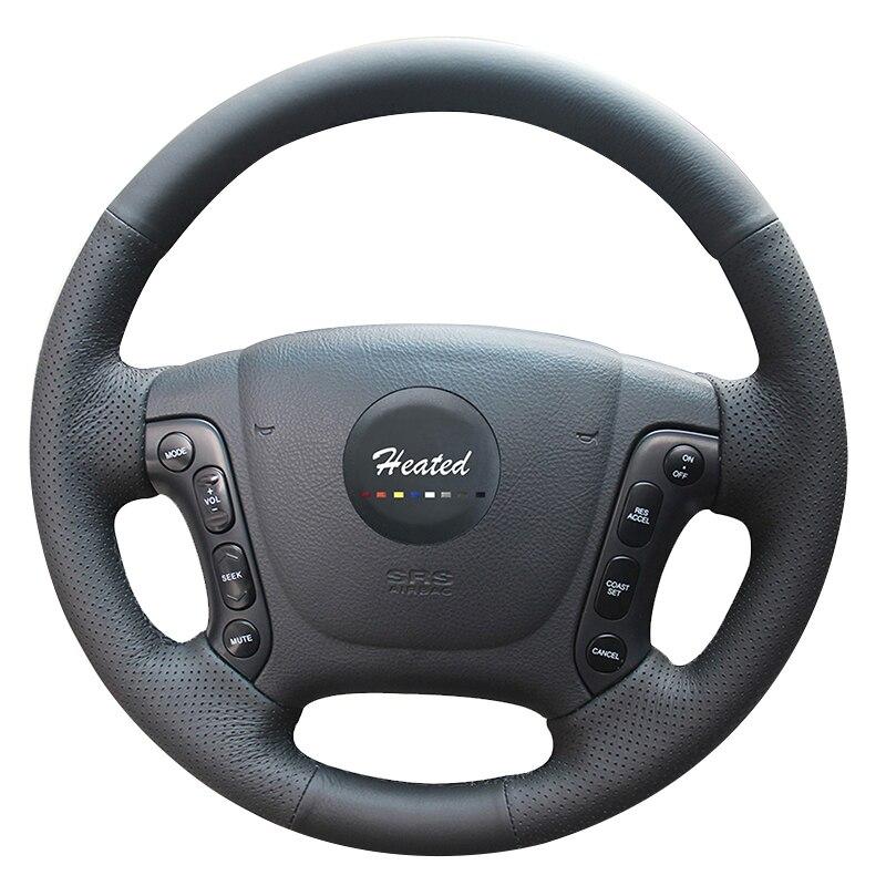 Couvre-volant chauffant pour Hyundai Santa Fe 2006-2012 couture à la main tresse en cuir microfibre anti-dérapant sur le volant