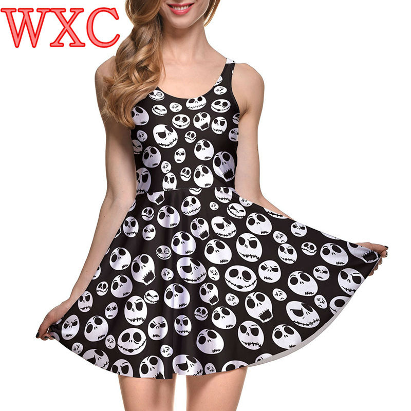 Jack Skellington Skater Dresses For Party Nightmare Before Christmas Stretchy One Piece Sleeveless Sexy Dress WXC