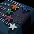 Colorful Zircon CZ Star Necklaces 925 Sterling Silver Crystal Necklace Starfish Pendants for Women Party Weddings Charm Jewelry