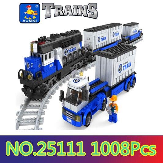 Ensemble de blocs de Construction Ausini compatible avec le train de transport lego 017 brique de Construction 3D loisirs éducatifs jouets pour enfants