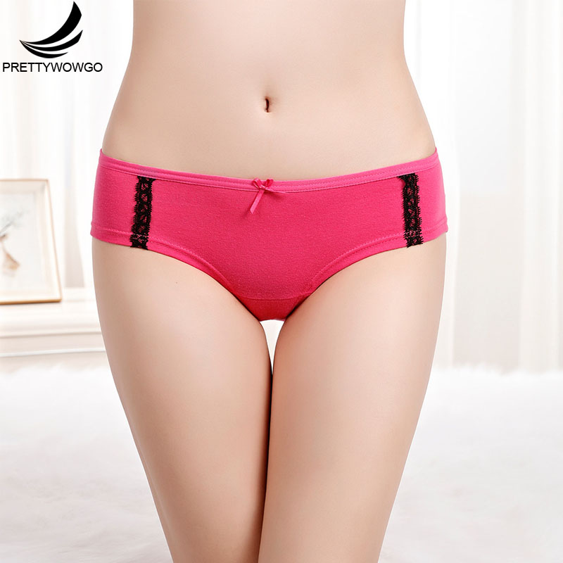 Prettywowgo Hot Sale Cotton 6 Solid Color Women Cotton   Panties   6917