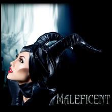 New High Quality Movie Maleficent  Dark Witch Cosplay Helmet Horn Headpiece PU Hat Prop Collection