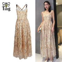 Tingfly 2019 Elegant Design Luxury Night Long Maxi Party Dresses Sexy Backless Cross Strap Sequines Dress Summer Casual Vestidos