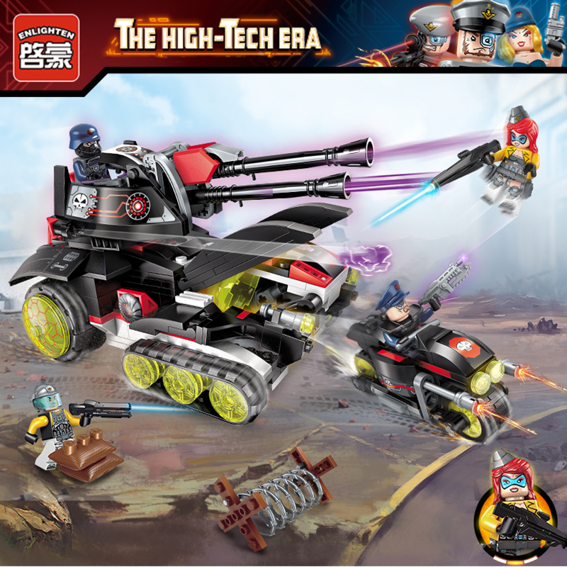 Enlighten High Tech Educational Building Blocks Toys For Children Gifts Military Vehicle Tank Moto Super Hero Weapon Stickers