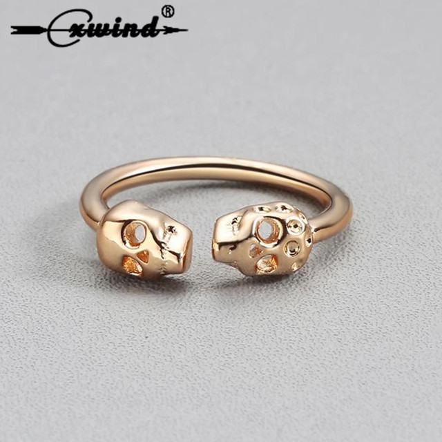 Cxwind Fashion Gothic Double-headed Skull Ring in Brass Rings for Women Men Personalized Punk Gold Wedding Party Ring Wholesale
