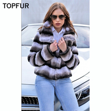 TOPFUR 2018 New Real Rex Rabbit Fur Coat Women Fashion Winter High Quality Natural With Collar