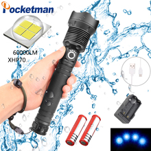 100W 60000LM Super Bright XHP70 LED Flashlight Waterproof Zoomable Power Displayer 3 Modes Aluminum Alloy with USB Charging z45