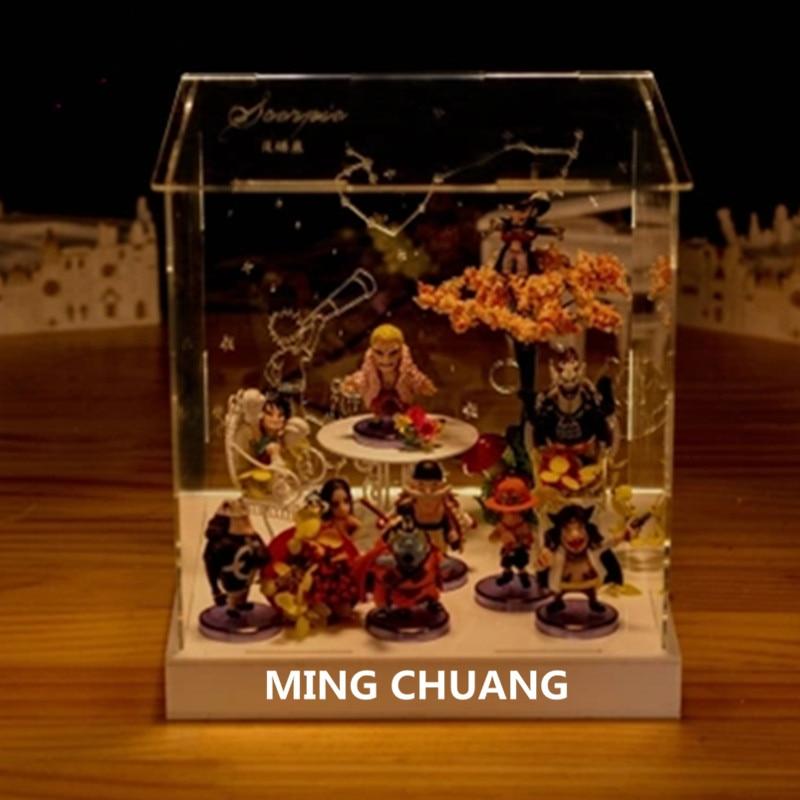 ONE PIECE Tony Tony Chopper Nami Usopp Roronoa Zoro Nico Robin 3D With LED Light Microlandschaft Plastic Action Figure Toy D767