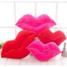 30cm Creative Pink Red Lips Shape Cushion Home Decorative Throw Pillow Sofa  Waist Cushion Home Textile
