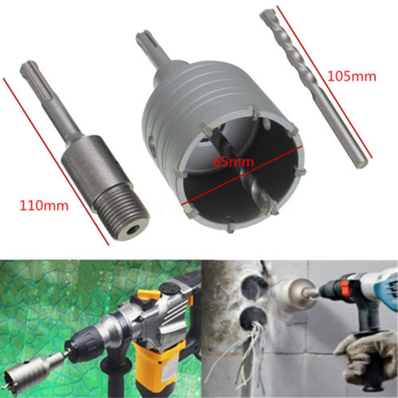 65mm Wall Hole Saw Centre Drill Bit Shank Wrench Kit For Concrete Cement Stone stones bricks concrete cement stone 50mm wall hole saw drill bit 200mm round rod