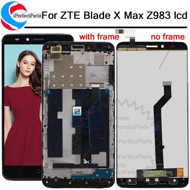 """1920*1080 For 6.0"""" ZTE Blade X Max Z983 Touch Screen Digitizer Glass LCD Display Assembly With Frame Panel Replacement+tools"""