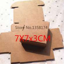 FJH002 50pcs/lot Foldable kraft paper box, Kraft paper gift box macaron box Free Shipping Size 70*70*30mm(China)