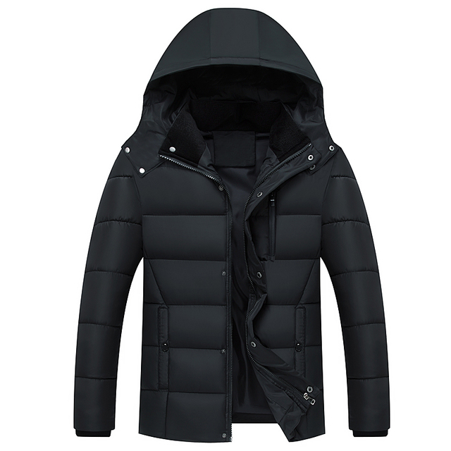 Cheap Men's Casual Parkas Solid Color Fleece Winter Jacket Men Hooded Thick Warn Padded Overcoat Man roupas jaqueta masculina inverno