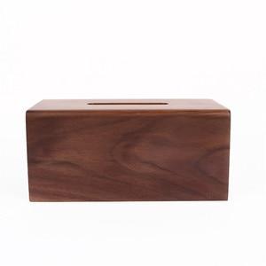 Image 4 - Face towel tray solid wood paper box box napkin box hotel restaurant bedroom wooden tissue box