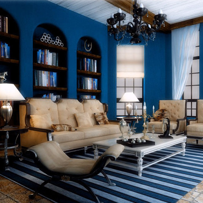 Buy blue wallpapers solid color embossed Blue wallpaper for living room