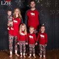 LZH Семьи Сопоставления Одежда 2016 Семейное Рождество Пижамы Жираф Pattern Пижамы Семья Соответствующие Наряды Семья Посмотрите Clothing