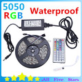 20M/lot Waterproof 5050 RGB LED Strip Set with 44Key Controller 6A Power Adapter 5050 Flexible Tape RGB LED Ribbon Free Shipping