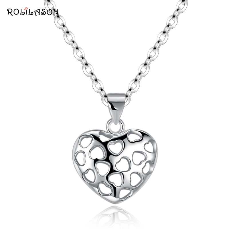 ROLILASON 2.7g Amazing Fashion real 925 sterling silver holoow heart necklace pendant chain jewelry for women SP40