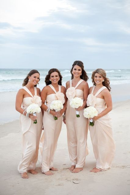 bfa6c761bd Beach Bridesmaid Dress with Flower attached Halter Zipper Back light  champagne beach wedding party dress
