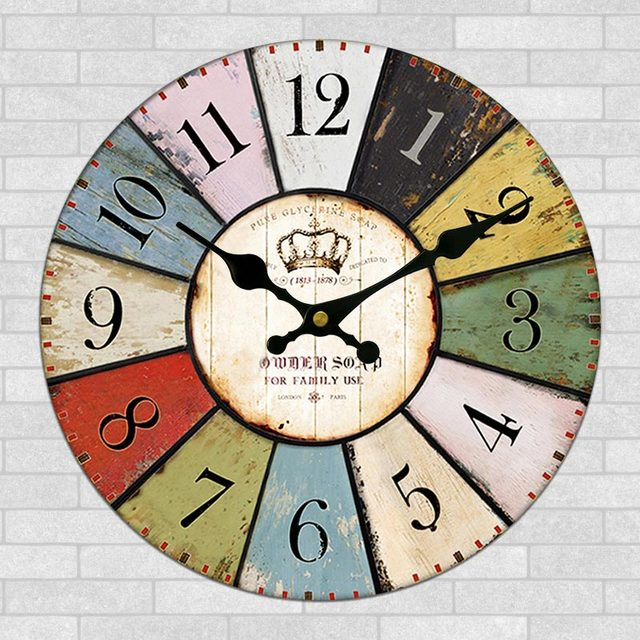 12 Inch Vintage Large Wooden Wall Clock Creative Home Kitchen Clocks Decor Retro Quartz