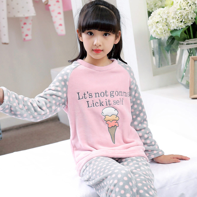 Autumn Children Extreme Soft Flannel Pjs Girls Sleepwear Boys Warm Loungewear Coral Fleece Homewear Winter Pajamas