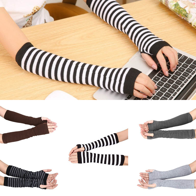 Lady Stretchy Soft Knitted Wrist Arm Warmer Long Sleeve Fingerless Gloves Striped Arm Warmers