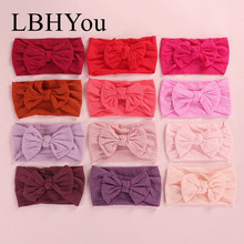 12pcs/lot Knot Nylon Headbands,Soft Stretchy Wide Bows Hairbands,Kids Baby Turban Headwraps Hair Accessories For Girls