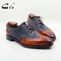 cie Square Toe100% Genuine Calf Leather Brown Patina Color Mix Deep Grey Suede Outsole Breathable Goodyear Welted Man Shoe OX702