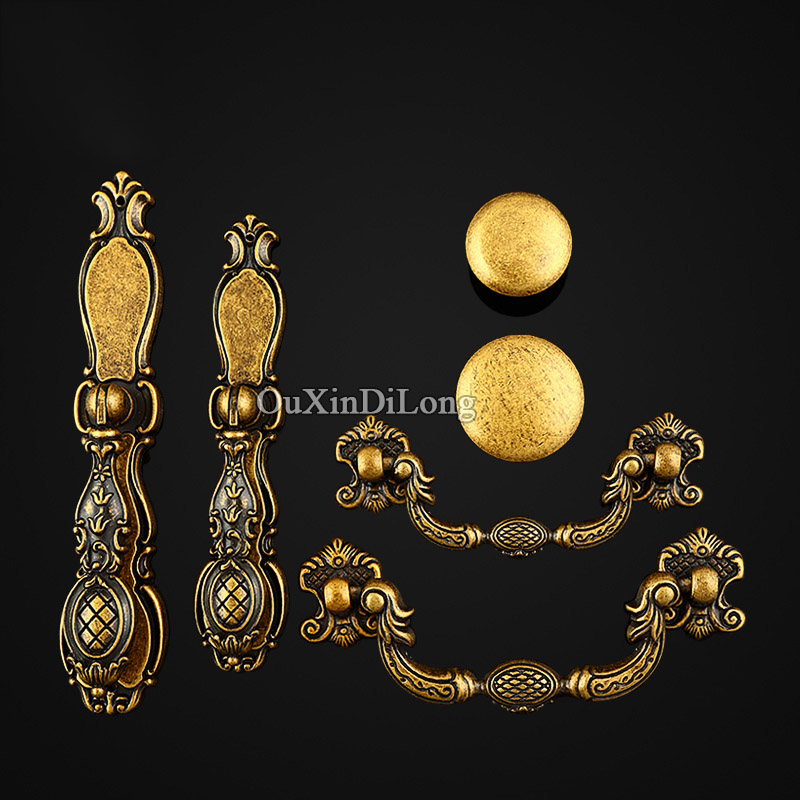 High Quality 10PCS Furniture Handles European Antique Carved Drawer Wardrobe Cupboard Shoe Cabinet Kitchen Pulls Handles & Knobs push to open beetles drawer cabinet latch catch touch release kitchen cupboard new arrival high quality