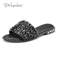 Pink Palms Summer Shoes Crystal Slides Shoes Women Flip Flops Flat With Casual Shoes Black Diamond