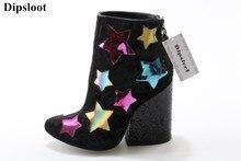 Dipsloot Moda Mulher Colorido Estrelas Patchwork Dedo Do Pé Redondo Ankle Boots Quadrados sapatos De Salto Alto Vestido Sapatos de Festa Senhora Zip Botas Curtas
