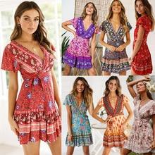 цена на 2019 sexy summer autumn women Beach Style dress see through Short sleeve floral printed dress v neck short mini for female Dress