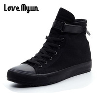 2018 Fashion New Men Light Breathable Canvas Casual All Black White Red High Top Solid Color