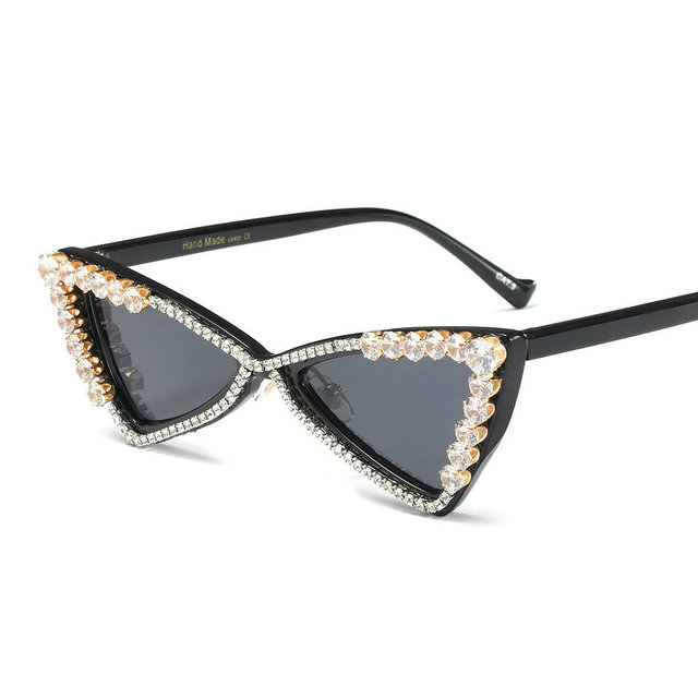 e546e5f6f035 Luxury rhinestone sunglasses female Triangle shaped trendy brand designer  fashion Shiny Butterfly diamond glasses women FML