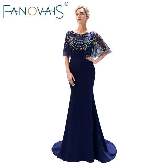 230c8547ba Navy Blue Mermaid Evening Dresses with Capes Shinning Beads Prom Dress  Formal Party Gowns Vestido De Festia Longo Robe De Soiree