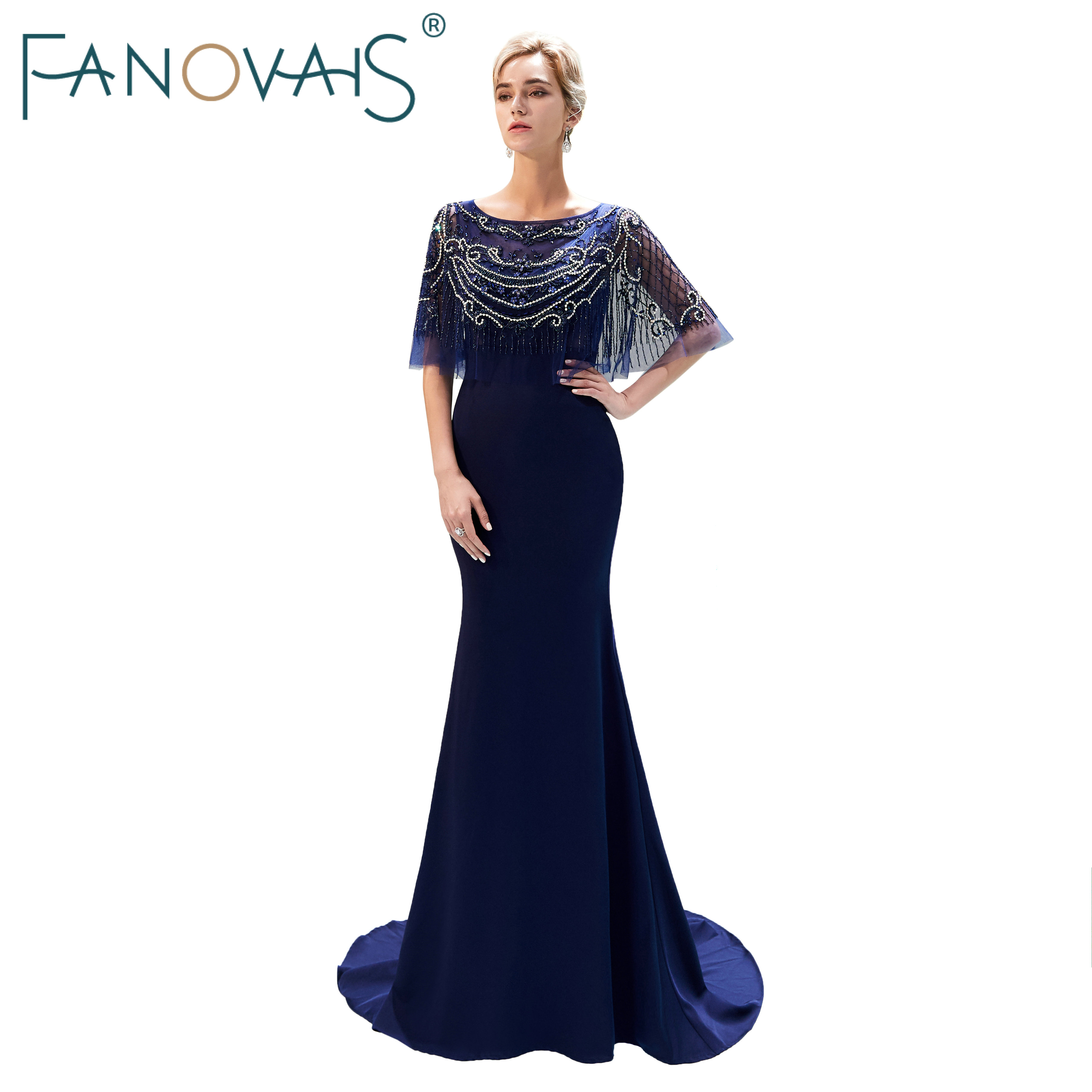 Navy Blue Mermaid   Evening     Dresses   with Capes Shinning Beads Prom   Dress   Formal Party Gowns Vestido De Festia Longo Robe De Soiree