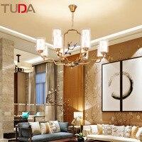 TUDA LED Chandelier Chinese Wrought Iron Chandelier Living Room Chandelier Bedroom Restaurant Glass Chandelier E27 110V 220V
