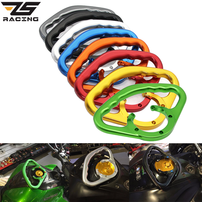 ZS Racing Motorcycle Front Tank Handrails Rear Seat Drop Resistance Handrails Passenger Safety Handle For Kawasaki Z1000 Z800 for ktm 390 duke motorcycle leather pillon passenger rear seat black color
