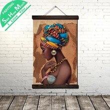 Африканские Женщины Девушка Кролл Живопись Холст Старинные Плакат и Отпечатки Wall Art Pictures