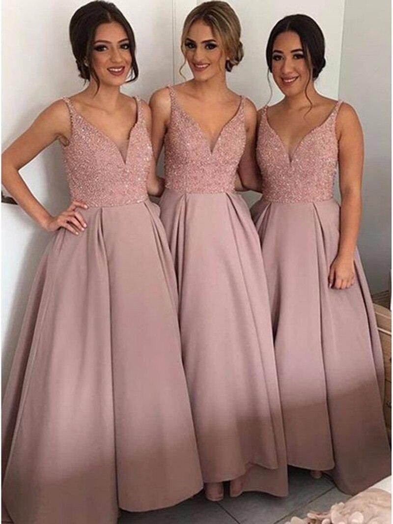Baratos 2017 Largo de Dama de honor Vestido Barato V Cuello Crystal ...