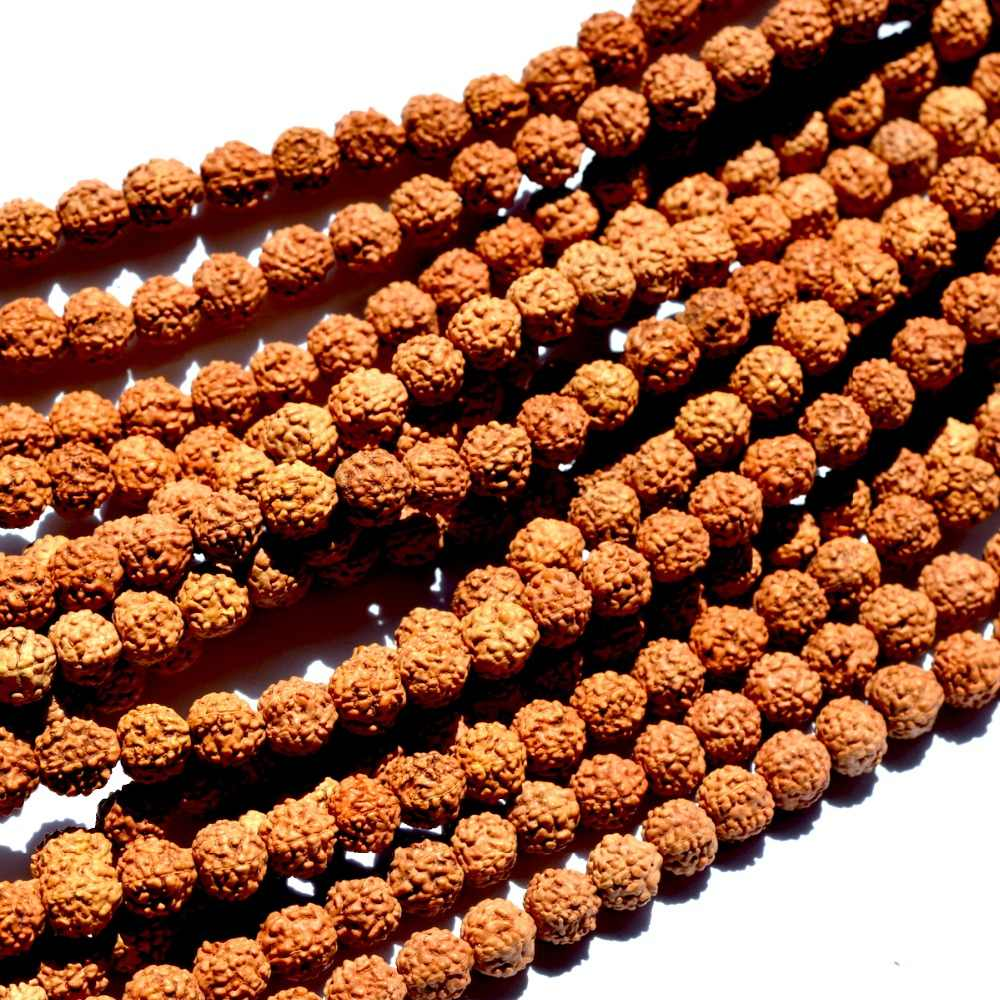 Wholesale Natural Beads 7mm Round Rudraksha Beads For Jewelry Making DIY Bracelets Necklaces
