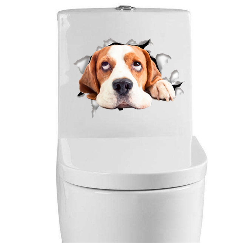 Waterproof Cat Dog 3d Wall Sticker Hole View Bathroom Toilet Seat Decorations Removable Home Decal Decor